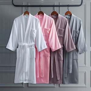 100% Cotton Long Thick Absorbent Terry Bath Robe Kimono Men LightWeight Waffle Towel Bathrobe Plus Sleepwear Women Dressing Gown 201126