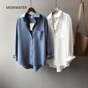 Moinwater Yeni Kadın Mavi Gömlek Lady Moda Taklit İpek Beyaz Gömlek Kadın Siyah Bluz Tops MST20111