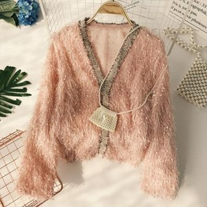 Fairy V neck Hairy Gold Tassels Sweat Lazy Windy Fringed Pullovers Sweet Long Sleeved Thin Knitted Shirts 2018 Tops