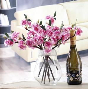 Twig sakura simülasyon çiçek çift sakura kısa şube şişe çiçek ev dekorasyon masa yüz çiçek sahte düğün üreticileri wholesal