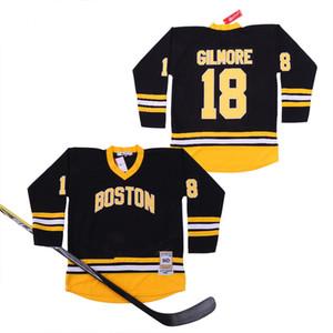 1996 Фильм Хоккей 18 Счастливчик Гилмор Horlohawk Boston Джерси Adam Sandler команда Главной Черный Колледж дышащих вышивки и шитье