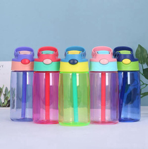 Kids Plastic Water Bottle 500ml Baby Sippy Cup With Straw Water Feeding Learner Cup Spill Proof Bottles DDA739
