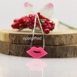 (1pc / lot) Livraison gratuite Opal Lèvres synthétique 8 * 15mm Opal Lip / Baiser collier pendentif pour les femmes aiment la mode cadeau 925 collier