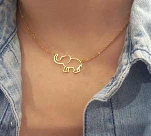 Cute Origami Elephant Pendant Necklace Women Animal Jewelry Stainless Steel Gold Chain Lucky Elephant Contour Choker Bijoux Femm