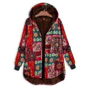 WOMAIL Print Folk Hooded Woman Outwear Jacket Vintage Plus Size Winter Side Button Ethnic Coat Warm Pockets Women's Jacket Coat