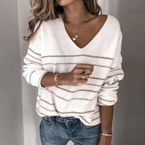 Autumn V Neck Sweater Women Jumper Striped Sweater Ladies Off Shoulder Knitted Jumper Sweaters Female Pullover Pink White 201030