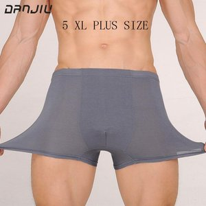 DANJIU Mens Boxer Shorts Cueca respirável calzoncillos Hombre Sexy Men Underwear Sólidos 4XL 5XL Plus Size cuecas Tamanho Grande