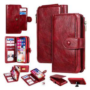 Custodia per il portafoglio per iPhone XR TPU in pelle PU in pelle PU Flip 2 in 1 Copertura slot per iPhone XS Max 11 Pro X 7 8 Plus Bag Deatachable