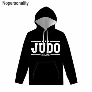 Nopersonality Judo Hoodies Men's Autumn Winter Hoody Swearshirt Long Sleeve Hooded Tops Casual Ladies Drawstring Pullover