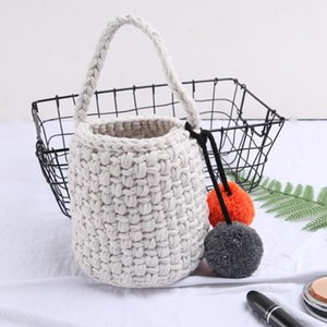 Youda Winter Bags of Women 2020 Korean Style Hand-woven Thick Wool Bag Sweet Tote Handbags Fashion All-match Small Bucket Pack C1223