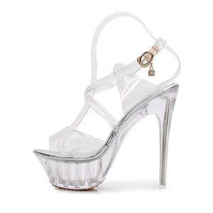 2021 Summer Women Sexy PVC Transparent Sandals 14cm High Heels 4cm crystal Platform Luxury Fetish prom Plus Size Designer Shoes1