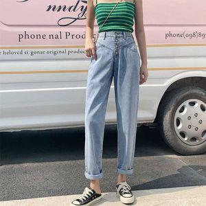 Guuzyuviz Light Blue Tall Waist Denim Donne Plus Size Jeans Broek Vinatge Katoen coreano 2021