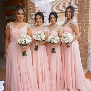 Plus Size Chiffon Bridesmaid Dresses with Lace Capped Sleeves Wedding Party Gowns Zipper Back Long Vestidos De Fiesta