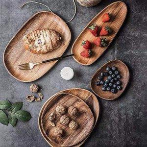 Con toda Lovesickness irregular oval de madera Pan de frutas platillo té bandeja placa de postre 4PCS C19042101
