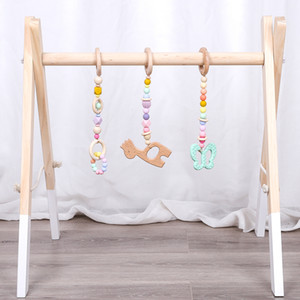 1Set Wooden Pendant Animals Baby Play Gym Wooden Teether BPA Free Food Grade Toys Interactive Baby Birth Gift Wooden Blank Toys LJ201114