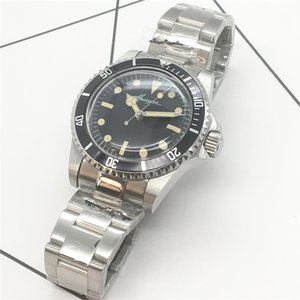 Antique Watch Retro Watch Herren 40mm Black Dial Black Aluminium Plattenring Leuchtende Mode Herrenuhr
