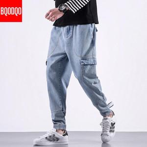 BQODQO Fashion Jeans d'homme Pantalons simple Hip Hop Hommes streetwear pantalons confortables Joggers japonais Sarouel Homme