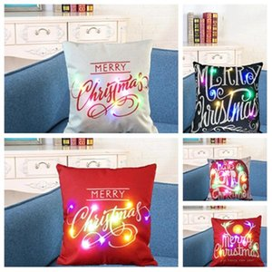 new Christmas Luminous pillow case elk pillow case car sofa cushion cover red Christmas pillowcase cushion cover 8style T2I51655