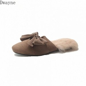 Net red slippers women fall wearing 2020 new Korean wild hair half drag Baotou fashion hairy Muller shoes winter wJyE#