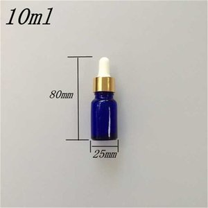 10 pcs 25x80 mm 10ml Plastic Head Dropper Glass Bottle Liquid Sample Dark Blue Essential Oil Bottles