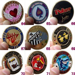 Groupe de neuf cartes de cartes de poker protecteur métal Souvenirs Craft Poker Poker Concessionnaires Coins Poker Game Cadeau Hold'em Accessoires