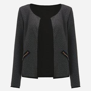 CNComNet Büyük Yard Sonbahar Ekose Ince Mont Kadınlar Kısa Ceketler Rahat Ince Uzun Kollu Blazers Hırka Kadın Dış Giyim Suits 4XL T200319