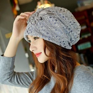 Mode Frauen Schmetterling Knotenkappe Rose Blume Mützen Hut Chiffon Lace Headwear Doppelschichten Hüte NEU1