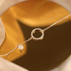 Anenjery Eenvoudige Zilveren Kleur Micro Pave Cirkel Armband Voor Vrouwen Zirconia Pearl Chain Bracele Pulseras S-B123Anenjery Eenvoudige Zi