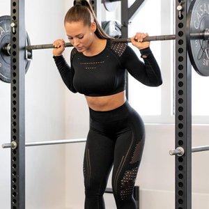 Женщины бесшовные тренажерный зал наборы высокой талии тренажерный зал сетки леггинсы рубашки костюм с длинным рукавом фитнес тренировки спортивные бегущие тонкие спортивные наборы1