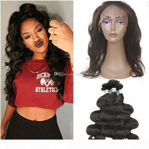 Brazilian Body Wave 3 Bundles with 360 Lace Frontal Unprocessed Brazilian Virgin Human Hair Weave with 360 Lace Frontal Closure with Bundles
