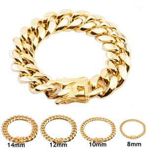 316L Stainless Steel Hip Hop Bracelets High Polish Miami Cuban Link Men Punk Curb Chain Butterfly Clasp 8 10 12 14 16 18mm11