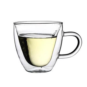 İçme Cam Çay Bardaklar Çift Duvar Katmanı Çay Bardağı Isıya Dayanıklı Yaratıcı Kalp Şeklinde Çift Cam Suyu Kupa Süt Kahve Fincanı DWD2761