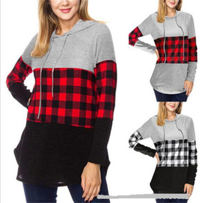 Maternity Womens Buffalo Plaid Hoodie Hooded Pullovers Blouse Tops Red &Black Plaids Patchwork Sweatshirt Sportwear Casual Clothing LY10293