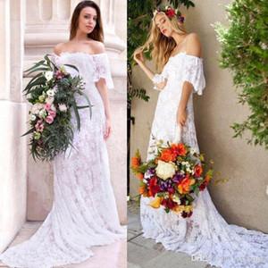 Boho Beach Lace Wedding Dresses Mermaid Bateau Neck Off Shoulder Long Country Wedding Dress Bridal Gowns Short Sleeve Vestidos de novia