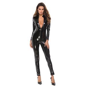 Siyah Fermuar Catsuit Wetlook Faux Deri Uzun Kollu Açık Kasık PVC Sexy Lingerie Lateks Catsuit Fetiş Giymek Seksi Oyun Kostümleri