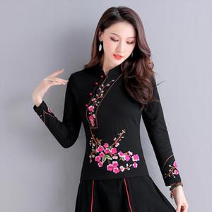 Kyqiao en ligne Magasin chinois Blusa Feminina Femmes Stand Collier à manches longues Black Blouse Blouse Broderie Bleu Rouge