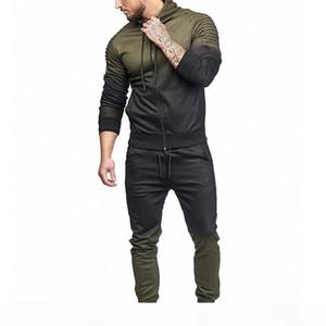 2018 Casual Streetwear Men Set Fashion 3D Print Pleated Sweatshirt Pants Jumpsuit Autumn Plus Size Jacket Coat Trouser Tracksuit