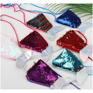 Women Mermaid Tail Sequins Coin Purse Girls Crossbody Bags Card Holder Small Portable Glittler Wallet Purse Bag Pouch jllVMl bdebag