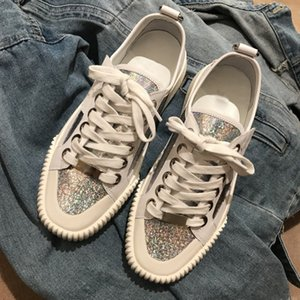 New spring 2020 lace-up white shoes, sequins, leather casual shoes, silver, gold, fashionable and fashionable flat-soledshoes