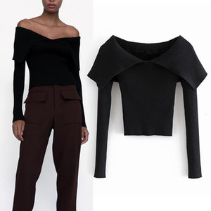 Autumn Clothes Za Black Crop Knit Top Women Blouses White Off Shoulder Tops Woman Sweaters Fall Long Sleeve Pullover