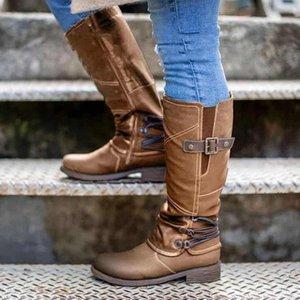 2020 Round Toe Women Long Boots Fashion Roman zipper Female Knight Boots Rubber Thick Heels Knee-high Women Shoes Autumn
