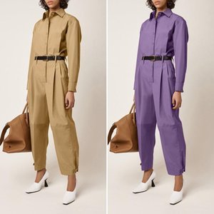 Women Fashion Long Rompers Celmia Elegant Jumpsuits Celmia 2020 Autumn Long Sleeve Solid Cargo Pants Casual Work Playsuits 7