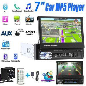 Rear View Camera 7'' Car Stereo audio Radio GPS Navigation Retractable autoradio with BT DVD MP5 SD FM USB Player