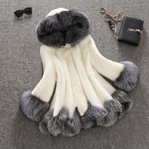 Women Faux Fur Coat White Gray With Fur Hat Jacket Mink Luxury Women Long Coat Imitation Jacket 6XL PC166