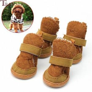 Transer Pet Supply Dog Winter Warm Shoes Woolen Anti-Slip Brown Snow Boots Magic Stick Cute Puppy Dog Shoes 80103 N9x8#