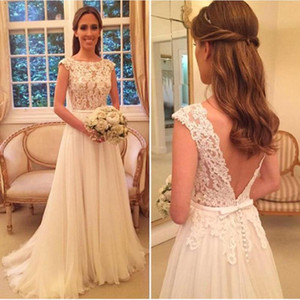 Country Wedding Dresses Sexy Sheer Lace Applique Jewel Neck Elegant Illusion Ivory A Line Backless Tulle Beach Bridal Gowns Long
