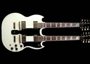 Custom Shop Jimmy Page 12 & 6 strings 1275 Double Neck Led Zeppeli Page Cream White SG Electric Guitar Humbucker Pickups, Hardtail Tailpiece