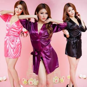 Ice Silk Robes Womens Sexy Lingerie V-Neck macia cor sólida Sleepewear Banho Feminino Belt projeto Robes