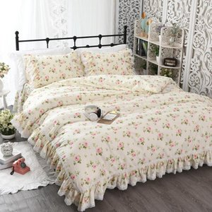 Korean Floral Ruffle Lace Edge Bedding Duvet Cover Sets Twin Kid Girl Bedding Sets 100% Cotton Reversible Ultra Soft set