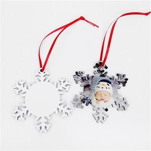 فارغة التسامي ندفة الثلج عيد الميلاد الحلي DIY النقل الحراري الطباعة مزدوجة الجانبين ختم عادي الأبيض خشبية ندفة الثلج DHA1649